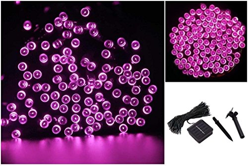 1 Pc Hair-raising Modern 100x LED Solar Nightlight Christmas Props Outdoor Light Waterproof Color Pink