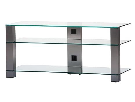 Sonorous PL 3400-C-INX  Sonorous PL 3400-C-INX Tisch fur 50 Zoll Fernseher, Aluminium Inox Klarglas/Silber