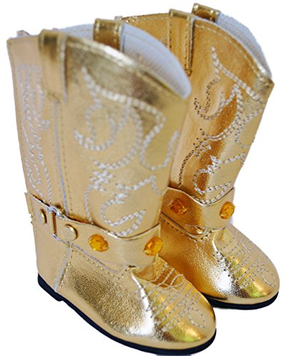 GOLD WESTERN COWGIRL BOOTS FOR AMERICAN GIRL DOLLS