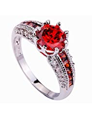 Amybria Jewelry Women's Round Cut Ruby Spinel Gemstones Ring Silver Size T 1/2