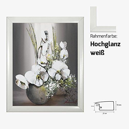 Kunstdruck TRAMONI - Univers d'orchidees blanches II weiße Orchideen in Vase Blumenstrauß 40 x 50 cm mit MDF-Bilderrahmen & Acrylglas reflexfrei, viele Farben zur Auswahl, hier Hochglanz weiß