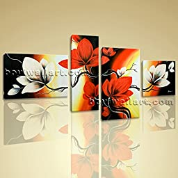 Large Canvas Prints Abstract Tulip Flowers Tree Wall Art Stretched 4 Panels Picture Ready To Hang BoYi 65\