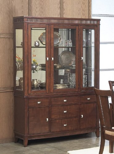 Cheap China Cabinet Buffet Hutch with Sturdy Design in Rich Walnut Finish (VF_AP-341-71-72)