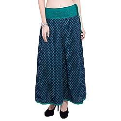 TUNTUK Women's Talia Skirt Navy Blue Cotton Skirt
