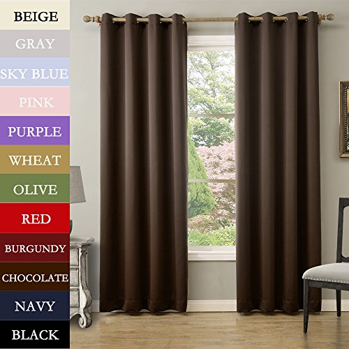TWOPAGES® Solid Antique Bronze Grommet Polyester Drapes Chocolate Blackout Curtains 100