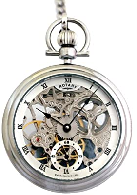 Rotary Pocket Watch MP00723/21 Stainless Steel Open Face