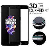 #7: Febelo (TM) Pro HD+ Crystal Clear 9H Full Screen Coverage Tempered Glass Screen Protector For One Plus 5 - Black Border