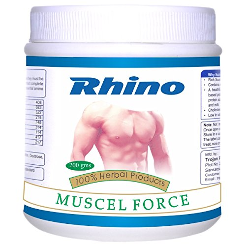 Rhino MUSCLE FORCE- Herbal Nutritional Drink For Muscle Building (200 Grams)
