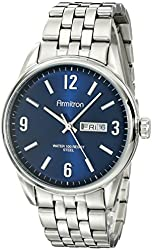 Armitron Men's 20/5049NVSV Day/Date Function Navy Blue Dial Stainless Steel Watch