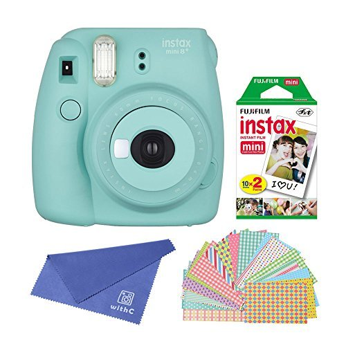 Fujifilm-Instax-Mini-8-Instant-Film-Camera-Mint-with-Instant-Film-2-x-10-Shoots-Total-20-Shoots-Colorful-Photo-Frame-Stickers-20-pcs-withC-Microfiber-Cleaning-Cloth