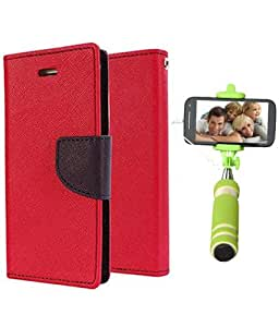 Aart Fancy Diary Card Wallet Flip Case Back Cover For Samsung Note 3 -(Red) + Mini Aux Wired Fashionable Selfie Stick Compatible for all Mobiles Phones By Aart Store