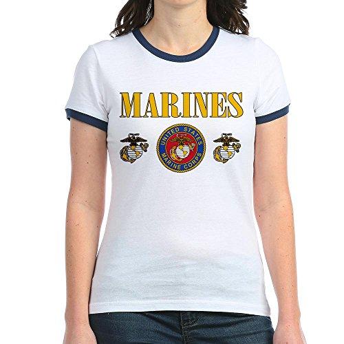 Royal Lion Jr. Ringer T-Shirt Marines Us Marine Corps Seal - Navy/White, Medium