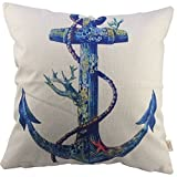HOSL Cotton Linen Square Throw Pillow Case Decorative Cushion Cover Pillowcase for Sofa Blue Rusty Anchor with Coral 18