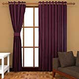 EDECOR 2 PC COMBO Faux Silk Eyelet Door Window Curtain, Polyester Plain Ringtop-8 Ft- Wine