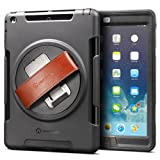 New Trent Gladius Air iPad Case compatible: iPad Air. Rugged: Water - Dirt and Shock Proof - 360 rotatable - leather hand strap with built-in stand.