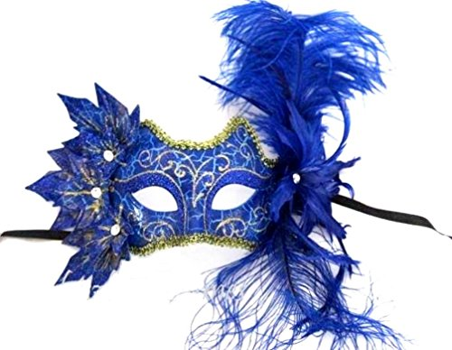 Royal Blue Leaves Mask Gold Glitter Feathers Fairy Gems Womens Costume Accessory