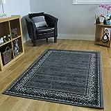 Soft Non Shedding Grey Black Traditional Border Rugs - Kensington 185 cm x 270 cm (6' x 8'10