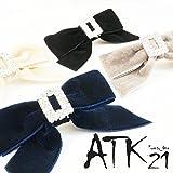 [ATK21] ベルベット リボン ライトストーン フォーククリップ ヘアクリップ ヘアアクセサリー レディース(アイボリー)