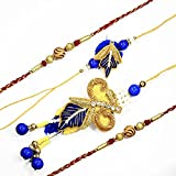 MJR Elegant Bhaiya - Bhabhi Rakhi pair with special yellow golden zardoji work from Jaipur alongwith a Combo of Two Additional Rakhis and Roli - Chawal (Akshat) for Puja