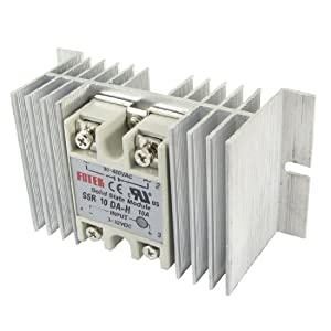 Single Phase Solid State Relay SSR 10A 3-32V DC 90-480V AC w Aluminum heat sink