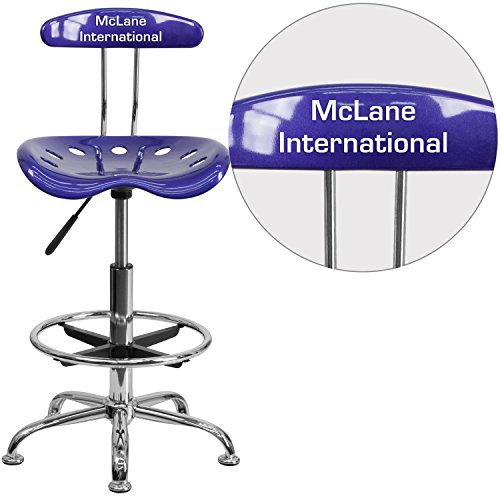 "Personalized Vibrant Deep And Drafting Stool With Tractor Seat Blue/Chrome/20""L x 17.25""W x 41""H"