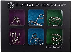 Braintwister Metal Puzzle Set, Silver (6-Piece)