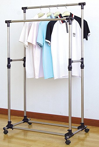 ProSource Premium Heavy Duty Double Rail Adjustable Telescopic Rolling Clothing and Garment Rack
