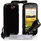 Yousave Accessories TM HTC ONE S Noir Silicone Gel Etui Coque Avec Chargeur De Voiture Et Tissu De Polissage Micro Fibrepar Yousave Accessories