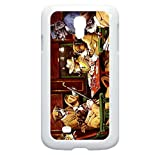 02-Poker Dogs Hard White Plastic Case with Tough Rubber Lining - for the Samsung Galaxy s4 i9500