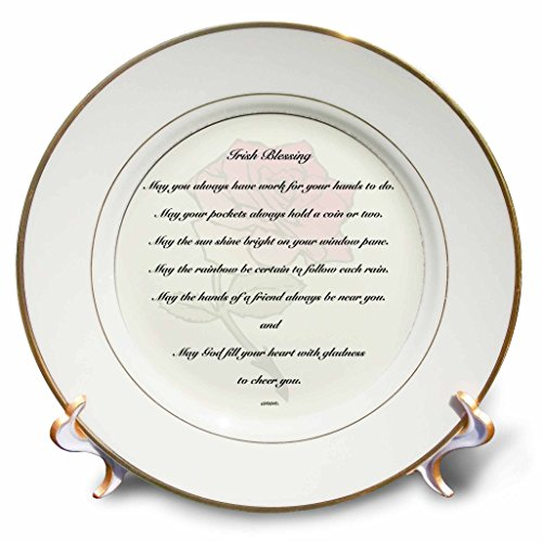 3dRose cp_27408_1 Irish Blessing on Pale Yellow Background with a Red Rose and Laced Border Porcelain Plate, 8-Inch
