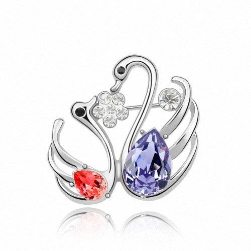 TAOTAOHAS- [ Search Name: Love Swan Lake ] (1PC) Crystallized Swarovski Elements Austria Crystal Brooch, Made of Alloy Plated with 18K True Platinum / White Gold and Czech Rhinestone