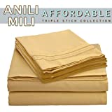 Anili Mili's Triple Stitch Embroidery Affordable 4 PC Bed Sheet Set - Queen Size, Yellow Camel Gold
