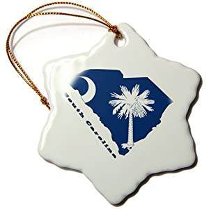 3dRose orn_58762_1 South Carolina State Flag in The outline Map and Letters for South Carolina Snowflake Decorative Hanging Ornament, Porcelain, 3-Inch