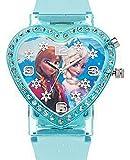 Disney Kids' FZN3605 Frozen Anna and Elsa Analog Display Blue Heart Shape Watch