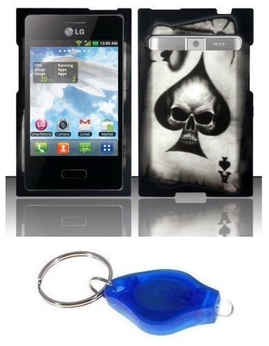 Black Ace Skull Design Case + Atom Led Keychain Light For Lg Optimus Logic L35G / Dynamic L38C