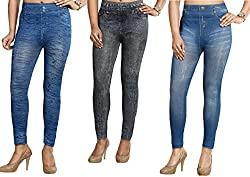 Timbre Denim Look Printed Leggings Pack of 3 Skinny Fit Lycra Jeggings Free Size 24