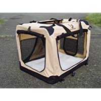 Folding Fabric Dog Crate Large Beige 70cm . Vehicle Isofix anchor points for the ultimate in safety.
