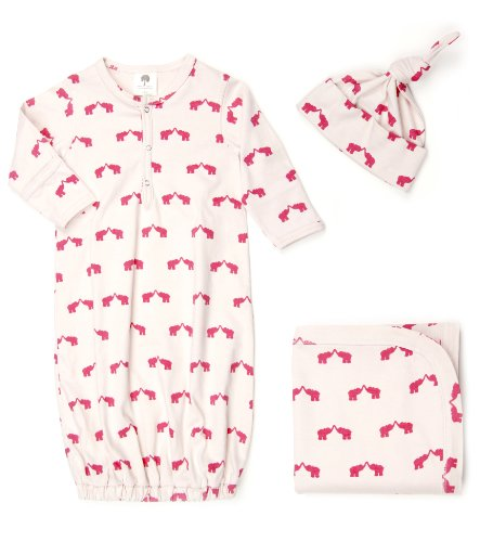 Kate Quinn Organic Snuggle Set (Sacque, Hat, Blanket), 3-6M (Elephant)