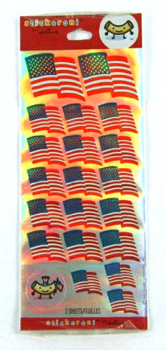 Shiny American Flags 2 Sticker Sheets By Hallmark Stickeroni - 1