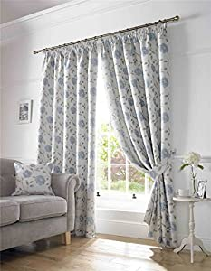 """Trailing Floral Duck Egg Blue 90x72"""" 229x183cm Linen Blend Lined Pencil Pleat Curtains from Curtains"""