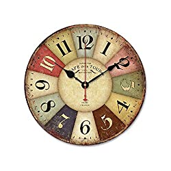 iHomeset 12 Vintage France Paris Colorful Country Tuscan Style Wood Wall Clock