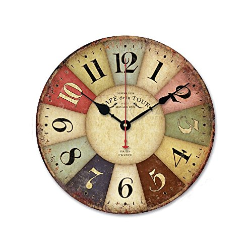 "iHomeset 12"" Vintage France Paris Colorful Country Tuscan Style Wood Wall Clock"