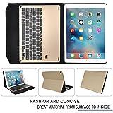 iPad Pro 9.7インチケース,【IVSO】iPad Pro 9.7インチキーボード iPad Pro 9.7インチ 専用 超薄型Bluetooth接続キーボード 内蔵アルミケース キーボード兼スタンド兼カバー iPad Pro 9.7インチだけ 適用 (ゴールド)