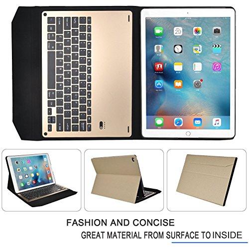 iPad Pro 9.7インチケース,IVSOiPad Pro 9.7インチキーボード iPad Pro 9.7インチ 専用 超薄型Bluetooth接続キーボード 内蔵アルミケース キーボード兼スタンド兼カバー iPad Pro 9.7インチだけ 適用 (ゴールド)