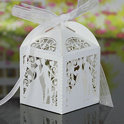 PONATIA 50pcs/Lot Colorful Bride and Groom Candy Box Paper Wedding Favors Candy Boxes Party Wrapper (White)