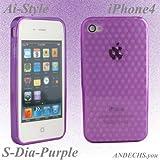 Ai-Style iPhone4 TPUケース  ダイヤパターン パープル【Ai4-S-dai-Purple】&高級液晶保護シート付