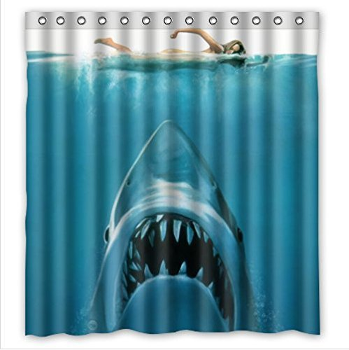 Cool Great White Shark Waterproof Bathroom Shower Curtain- Polyester Fabric, 66(w)x72(h) (Cool Shower Curtain compare prices)