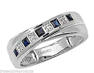 J R Jewellery 441124 White Gold Sapphire & Diamond Crossover Eternity Ring
