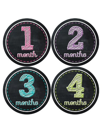 Months in Motion 004 Monthly Baby Stickers Baby Girl - Months 1-12 - Chalkboard