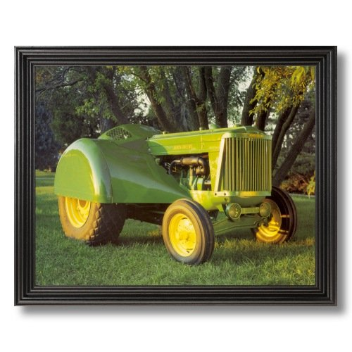 Solid Wood Black Framed Vintage John Deere Farm Tractor Model 60 Pictures Art Print